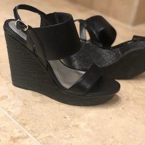 WHBM black high wedge sandals
